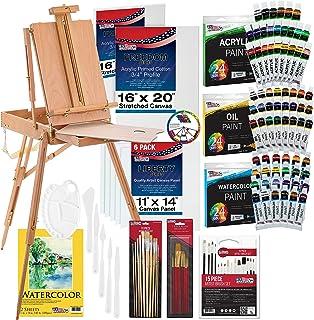 """لوازم تزئینی هنری ایالات متحده 121 عیار کیت نقاشی سفارشی هنرمند با Coronado Sonoma Easel، 24 رنگ Acrylic Tubes، 24 رنگ لوله های رنگ روغن، 24 عدد رنگ آبرنگ رنگ، هر کدام 16 """"x20"""" کیفیت هنری کشیده 6 عدد 11 """"X14"""" پانل های بوم، 11 """"X14"""" پد آبرنگ، 10 رنگ طبیعی برس موی مو، موهای رنگ موی 7 نایلونی، براش های 15 رنگ مختلف، قلم مو، پالت چاقو،"""