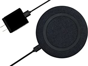 chargeONE | the modern fast wireless charger by Starq | fabric design |compatible with iPhone Xs, X, Xr, 8, 8Plus, Samsung S9, and all Qi enabled devices. Includes QC 3.0 18W USB quick charger adapter