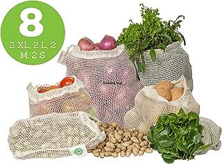 Reusable Vegetable Bags - Cotton Mesh Bags for Vegetables - Mesh Grocery Produce Bags - Mesh Vegetable Bags - Cotton Mesh Produce Bags - Reusable Bags for Vegetables   8 Bags (2XL, 2L, 2M, 2S)