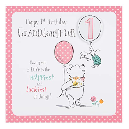 Hallmark Disney Baby Winnie 1st Birthday Granddaughter Card Love