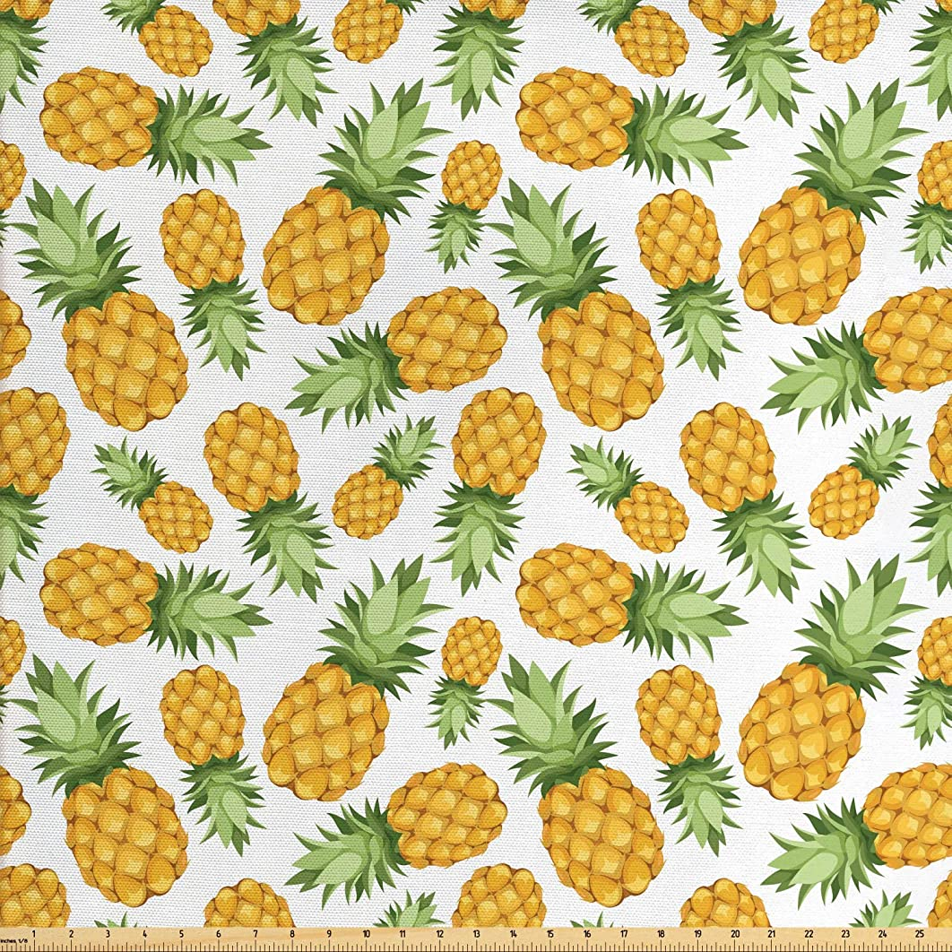 Ambesonne Yellow and White Fabric by The Yard, Pineapples Tropical Climate Fruits Ripe Juicy Food, Decorative Fabric for Upholstery and Home Accents, 3 Yards, Earth Yellow Green White