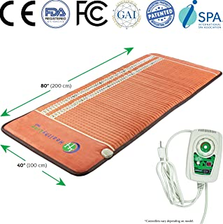 Amethyst Heating Pad - Tourmaline and Obsidian Stones, Far Infrared Heating Therapy, PEMF Therapy and Negative Ions, Firm (TAO - 80
