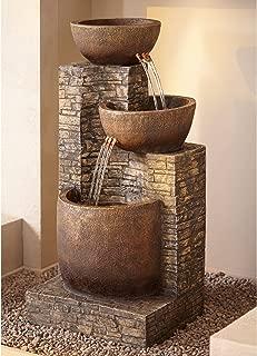 John Timberland Mason Outdoor Floor Water Fountain Three Bowl Floor Cascade 35