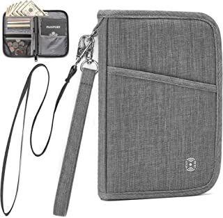 AtYOU Passport Holder RFID Passport Wallet Case Travel Wallet for Men Women with Removable Wrist Strap and Neck Strap, Grey