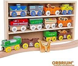 Orbrium Toys 12 (18 قطعه) مجموعه موتورهای چوبی و مجموعه اتومبیل های چوبی با حیوانات ، باغ وحش مزرعه صفری باغ وحش ماشین های قطار چوبی حیوانات ، قطار چوبی سیرک سازگار توماس موتور تانک ، Brio ، Chuggington