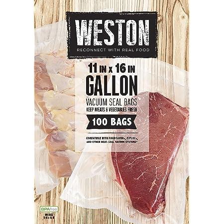 "Weston Vacuum Sealer Food Bags, 11"" x 16"", Gallon Size, 100 Count, Transparent"