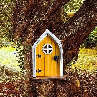 BKWJ Porte de Maison Miniature de Gnomes de fée, Porte de Nain en Bois avec fenêtres, décoration de Jardin de Statue d'arb...