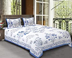 Bhagwatiudyog Block Print Cotton Floral Double Bedsheet with Pillow Cover (Blue, King Size)