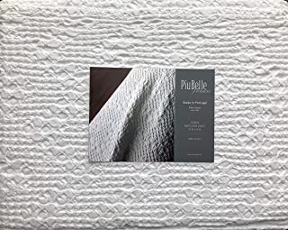 Piu Belle Portugal Solid White Textured Bubble French Farmhouse Style Matelasse Quilt Coverlet (Queen) - Cedric White