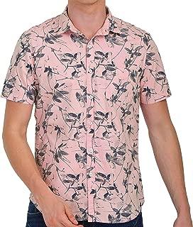 Tusok Men Short Sleeve Shirt Casual Hawaiian Flower Floral Party Beach Vacation Aloha Printed Black Leaf on Pink