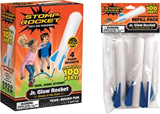 Stomp Rocket Jr. Glow Rocket and Rocket Refill Pack, 7 Rockets and Toy Rocket Launcher - Outdoor Rocket Toy Gift for Boys and Girls Ages 3 Years and Up