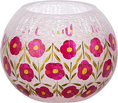 Pavilion - Love You More - Hand Painted Floral Frosted Crackled Glass Tealight Candle Holder, 5 Inch