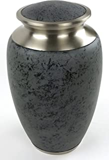 Slate Funeral Urn by Liliane Memorials - Cremation Urn for Human Ashes - Hand Made in Brass - Suitable for Cemetery Burial or Niche - Large Size fits remains of Adults up to 200 lbs- Marble Grey Model