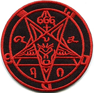 Satanic goat's head Baphomet pentagram pentacle 666 occult red on black embroidered applique iron-on patch new …