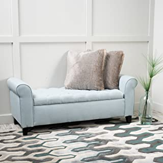 Christopher Knight Home 299823 Charlemagne Light Sky Tufted Fabric Armed Storage Bench