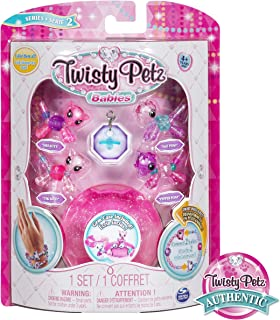 Twisty Petz, Series 2 Babies 4 Pack, Kitties and Ponies Collectible Bracelet and Case (Pink) For Kids