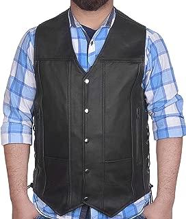 DEFY Men's Black Genuine Leather 10 Pockets Motorcycle Biker Vest New (Large (CHEST 42 INCHES))