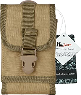 Huijukon Tactical Phone Belt Holster Molle Smartphone Pouch for iPhone 7/8 iPhone 7/8 Plus, Galaxy Note 8 / S7 / S8 Edge, Moto X with Slim Case (Khaki)