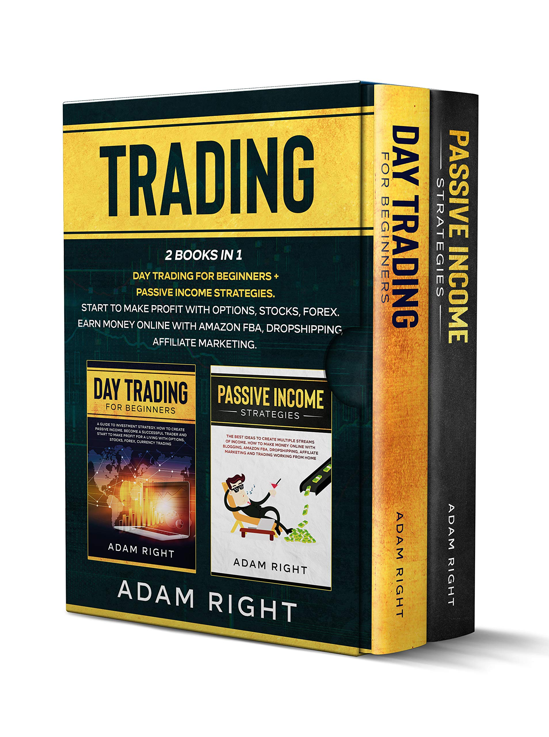 TRADING: This Book Contains: Day Trading For Beginners+ Passive Income Strategies.Start To Make Profit With Options,Stocks,Forex.Earn Money Online with Amazon FBA,Dropshipping and Affiliate Marketing