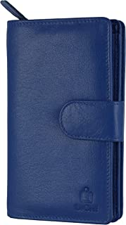 Le Craf Blue Genuine Leather RFID Blocking Wallet Clutch for Women and Girls