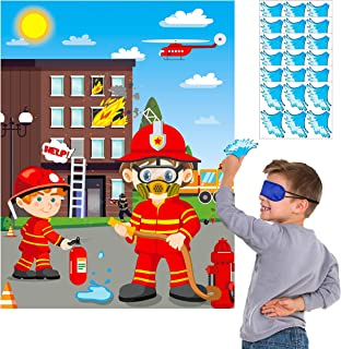 MALLMALL6 Firefighter Party Stickers Games for Kids Pin The Water On The Fire Hose and The Fire on The Window DIY Fireman Birthday Party Favors Party Supplies Decorations Pin Game with Blindfold