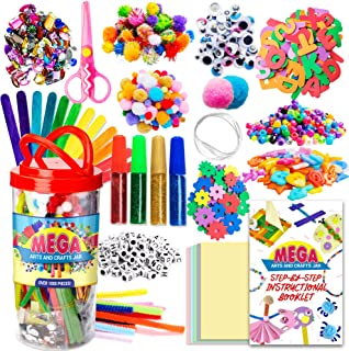 Dragon Too Mega Kids Art Supplies Jar - Over 1,000 Pieces of Colorful and Creative Arts and Crafts Materials - Glue, Safet...