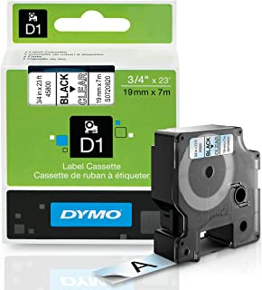 DYMO Standard D1 45800 Labeling Tape (Black Print on Clear Tape, 3/4'' W x 23' L, 1 Cartridge)