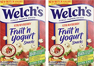 Welch's Strawberry Fruit'n Yogurt Snacks 8 Pouches (2 Pack - 16 Pouches Total)