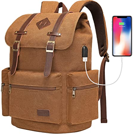 Modoker Mens Canvas Vintage Backpack for Men, Travel Laptop Backpack Fits 17/15.6 Inch Computer & Tablet, Large Bookbag Rucksack Backpack with USB Charging Port, Brown