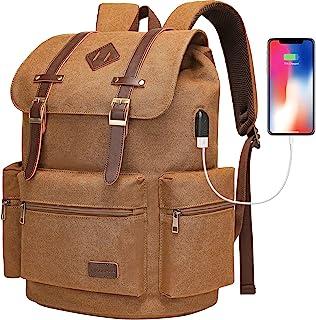 Modoker Mens Canvas Vintage Backpack for Men, Travel Laptop Backpack Fits 17/15.6 Inch Computer & Tablet, Large Bookbag Ru...