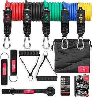 comprar comparacion Juego de bandas de resistencia elásticas + guía de ejercicios – Cintas profesionales: 5 tubos de látex + tobillera, anclaj...