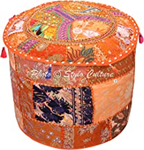 Stylo Culture Indian Floor Pouf Ottoman Cover Round Patchwork Embroidered Pouffe Ottoman Cover Orange Cotton Floral Tradit...