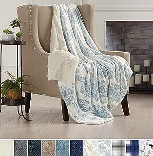 Home Fashion Designs Premium Reversible Two-in-One Sherpa and Fleece Velvet Plush Blanket. Fuzzy, Cozy, All-Season Berber Fleece Throw Blanket Brand. (Toile Blue)