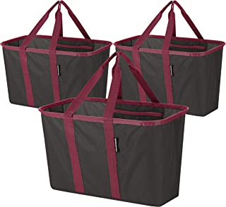 CleverMade SnapBasket Reusable Grocery Shopping Bags with Reinforced Bottom and Zippered Storage Pocket, Collapsible Durable Premium Utility Totes, 30L Size, Charcoal/Berry, 3 Pack