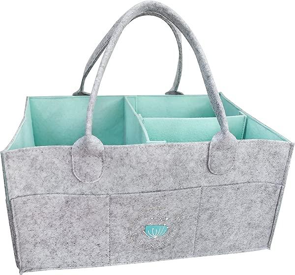 婴儿尿布纸盒整理器婴儿淋浴礼品篮男孩女孩尿布手提袋托儿所收纳箱换洗桌新生儿登记必备便携式汽车旅行整理器 Aqua