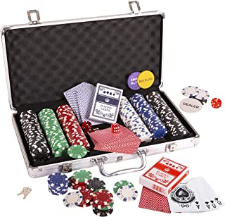 Silly Goose Poker Chip Set, Poker Chips (300/11.5 gr), Color Dice (5), Playing Cards (2) Aluminum Case w/Key (1), Buttons (3)