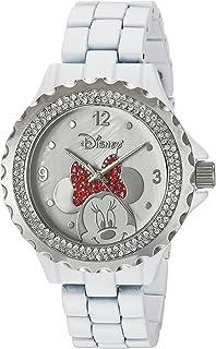Disney Minnie Mouse Women's Enamel Sparkle White Alloy Watch, Silver Bezel, White Bracelet, W002895