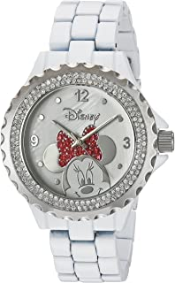 Disney Minnie Mouse Women's Enamel Sparkle White Alloy Watch, Silver Bezel, White Bracelet