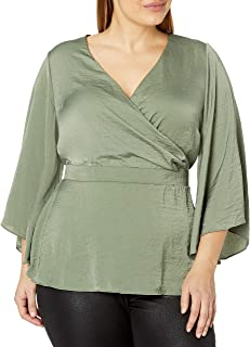 City Chic Women's Apparel Women's Plus Size Wrap Front top with Loose Sleeve and Fitted Waist Detail