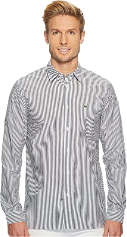 Lacoste - Long Sleeve Bengale Stripe Poplin Button Down Collar Regular