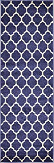 Unique Loom Trellis Collection Moroccan Lattice Dark Blue Runner Rug (2' 0 x 6' 0)