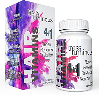 Tress Luminous - New Potent Hair Vitamins; Enhanced with DHT Blockers, Hair and Follicle Support Formula; Supports Hair Growth for Men and Women; All Natural Veggie Capsules; MADE IN THE USA