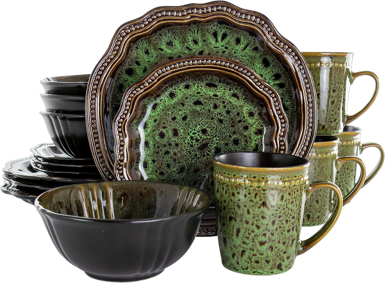Elama Round Stoneware High Class Dinnerware Full Service Set, Jade Green