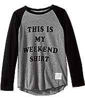 The Original Retro Brand Kids - This Is My Weekend Shirt Raglan Long Sleeve Tee (Big Kids)