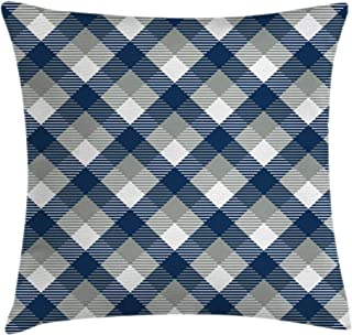 Ambesonne Navy Throw Pillow Cushion Cover, Abstract Checkered Tartan Geometric Classic Squares with Scottish Effects, Decorative Square Accent Pillow Case, 16