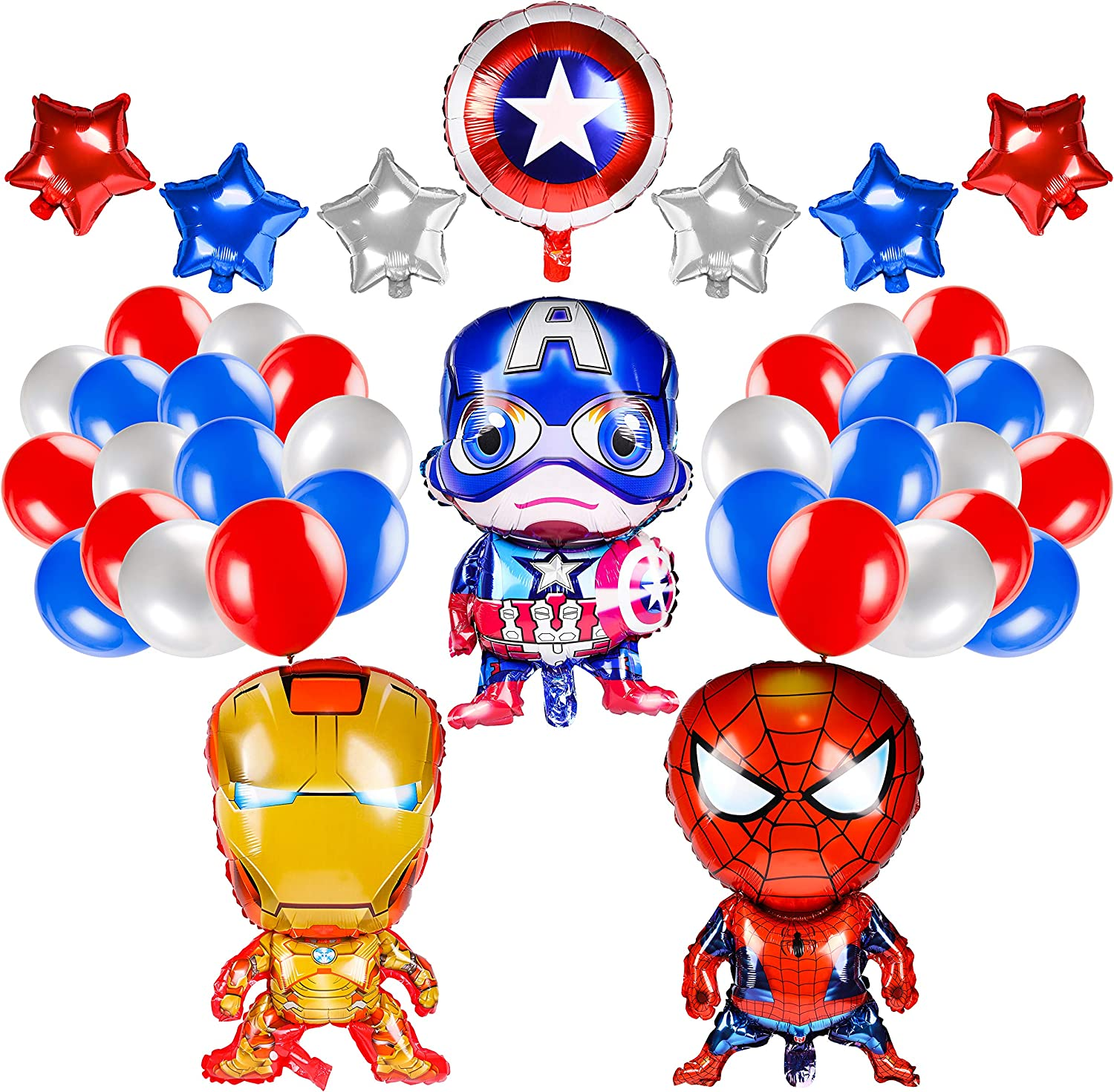 PANTIDE 40Pcs Superhero Balloons Birthday Party Supplies, Superheroes Foil Balloons Decorations Kit for Kids Superhero Theme Party Favors Baby Shower Christmas