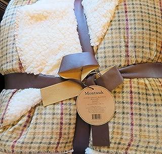 Montauk Luxury Velvet Reversible King Blanket-TAN, Green & Burgundy Plaid