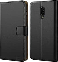 HOOMIL Case Compatible with OnePlus 6T, Premium Leather Flip Wallet Phone Case for OnePlus 6T Cover (Black)