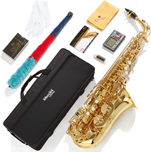 Mendini By Cecilio Eb Alto Saxophone - Instrument Case, Tuner, Mouthpiece, 10 Reeds, Pocketbook, Cloth & Gloves- MAS-...