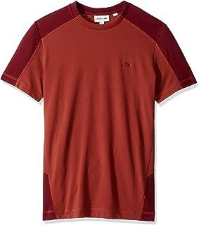 Lacoste Men's S/S Colorblock Pique PIMA Leger T-Shirt Relax FIT T-Shirt Shirt, IBERIS/Pinot, XL